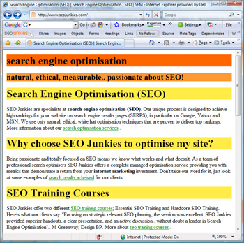 SEO Toolbar in action